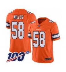 Men's Denver Broncos #58 Von Miller Limited Orange Rush Vapor Untouchable 100th Season Football Jersey