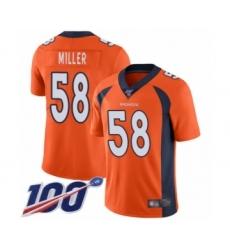 Men's Nike Denver Broncos #58 Von Miller Orange Team Color Vapor Untouchable Limited Player 100th Season NFL Jersey