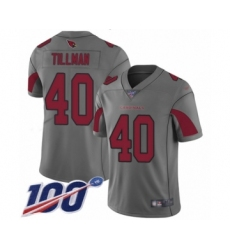 Men's Arizona Cardinals #40 Pat Tillman Limited Silver Inverted Legend 100th Season Football Jersey