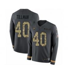Men's Nike Arizona Cardinals #40 Pat Tillman Limited Black Salute to Service Therma Long Sleeve NFL Jersey