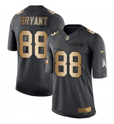 Men's Nike Dallas Cowboys #88 Dez Bryant Limited Black/Gold Salute to Service NFL Jersey