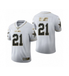 Men's Dallas Cowboys #21 Ezekiel Elliott White Golden Edition Limited Football Jersey