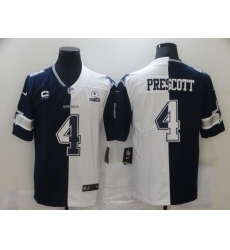 Men's Dallas Cowboys #4 Dak Prescott Blue White C Limited Split Fashion Football Jersey
