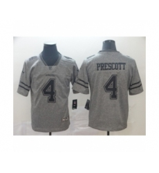 Men's Dallas Cowboys #4 Dak Prescott Limited Gray Rush Gridiron Football Jersey
