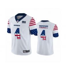 Men's Dallas Cowboys #4 Dak Prescott White Independence Day Limited Football Jersey