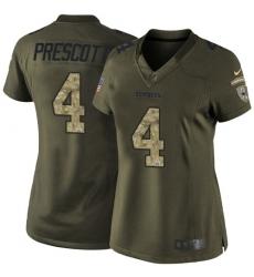 Women's Nike Dallas Cowboys #4 Dak Prescott Elite Green Salute to Service NFL Jersey