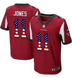 Men's Nike Atlanta Falcons #11 Julio Jones Elite Red Home USA Flag Fashion NFL Jersey