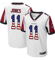 Men's Nike Atlanta Falcons #11 Julio Jones Elite White Road USA Flag Fashion NFL Jersey