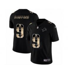 Men's Detroit Lions #9 Matthew Stafford Limited Black Statue of Liberty Football Jersey