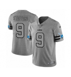 Men's Detroit Lions #9 Matthew Stafford Limited Gray Team Logo Gridiron Football Jersey