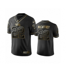 Men's Carolina Panthers #22 Christian McCaffrey Limited Black Golden Edition Football Jersey