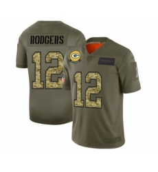 Men's Green Bay Packers #12 Aaron Rodgers 2019 Olive Camo Salute to Service Limited Jersey