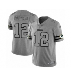Men's Green Bay Packers #12 Aaron Rodgers Limited Gray Team Logo Gridiron Limited Football Jersey