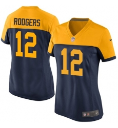 Women's Nike Green Bay Packers #12 Aaron Rodgers Limited Navy Blue Alternate NFL Jersey