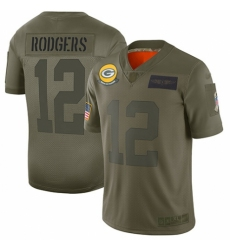Youth Green Bay Packers #12 Aaron Rodgers Limited Camo 2019 Salute to Service Football Jersey