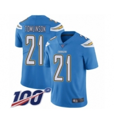 Men's Los Angeles Chargers #21 LaDainian Tomlinson Electric Blue Alternate Vapor Untouchable Limited Player 100th Season Football Jersey